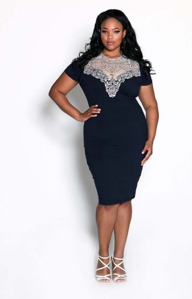 AX Paris Crochet Neck Blue Midi Dress Cost 35GBP (N9,500). Available UK Sizes: 16-26